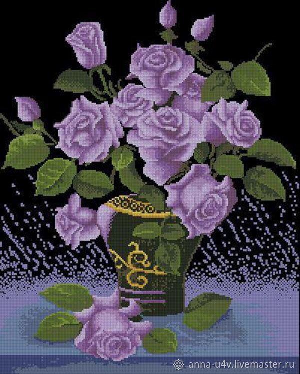 Сиреневые розы, Схемы для вышивки, Брянск,  Фото №1