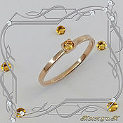 Украшения handmade. Livemaster - original item Mini-week ring 585 gold, citrine.. Handmade.