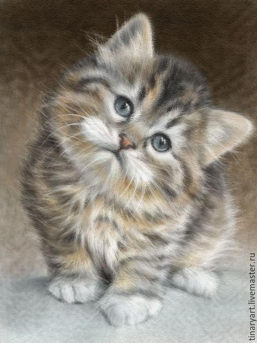 Фотокартины ручной работы. Ярмарка Мастеров - ручная работа. Купить Фотооткрытка Котёнок(пастель) цифровая графика. Handmade. Бежевый, открытка, для детей