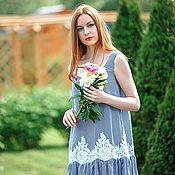 Одежда ручной работы. Ярмарка Мастеров - ручная работа Платье с воланом Круиз. Handmade.