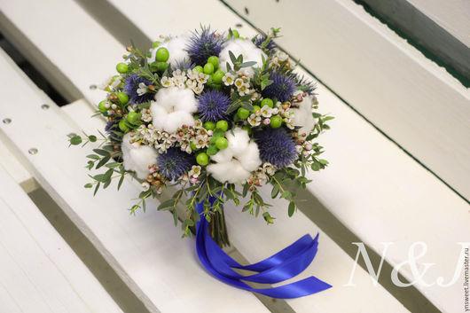 Свадебные цветы ручной работы. Ярмарка Мастеров - ручная работа. Купить Букет невесты - Зимний. Handmade. Синий, букет невесты