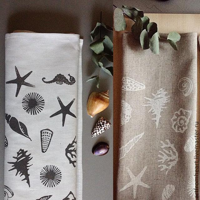 Полотенца льняные ручная печать на ткани, Полотенца, Санкт-Петербург, Фото №1
