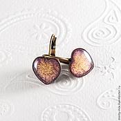 Украшения ручной работы. Ярмарка Мастеров - ручная работа Серьги сердечки фиолетово-бронзовые. Handmade.