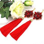 Украшения handmade. Livemaster - original item Long red earrings brush. Handmade.