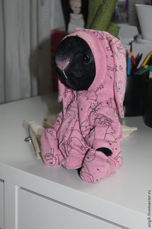 Мишки Тедди ручной работы. Ярмарка Мастеров - ручная работа. Купить Зайка в пижамке. Handmade. Черный, детская, подарок девушке