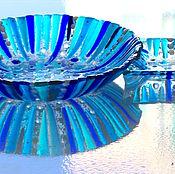 Посуда ручной работы. Ярмарка Мастеров - ручная работа комплект посуды  из стекла, фьюзинг  А Снег идёт. Handmade.