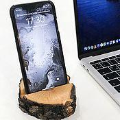 Подставки ручной работы. Ярмарка Мастеров - ручная работа Подставка для телефона из дерева - #пенёк. Handmade.