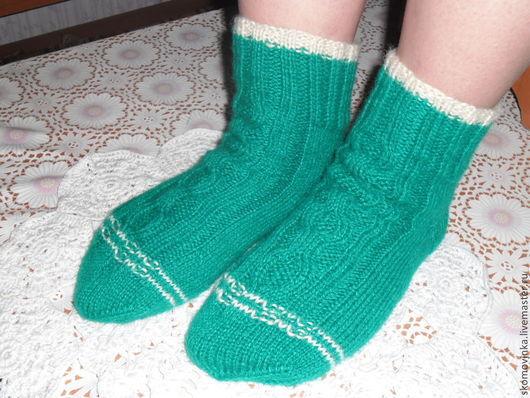 носки женские, женские носочки, вязанные носки, косичка.