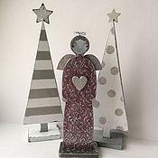 Подарки к праздникам ручной работы. Ярмарка Мастеров - ручная работа Елочки интерьерные деревянные на подставке N 2. Handmade.