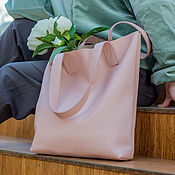 Сумки и аксессуары handmade. Livemaster - original item Bag female leather shopper pink(bag leather female). Handmade.