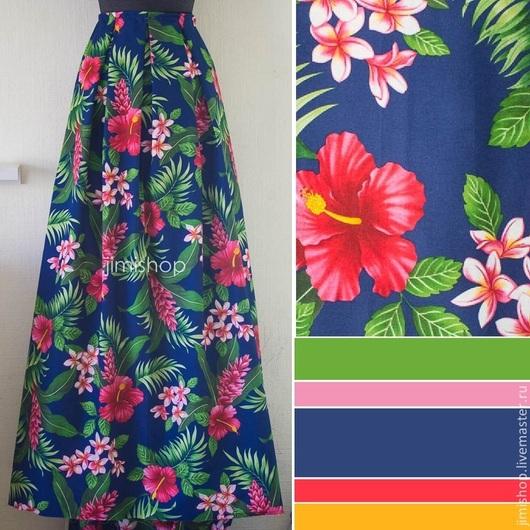 Юбки ручной работы. Ярмарка Мастеров - ручная работа. Купить Юбка гавайским цветком на синем. Handmade. Пышная юбка на талии