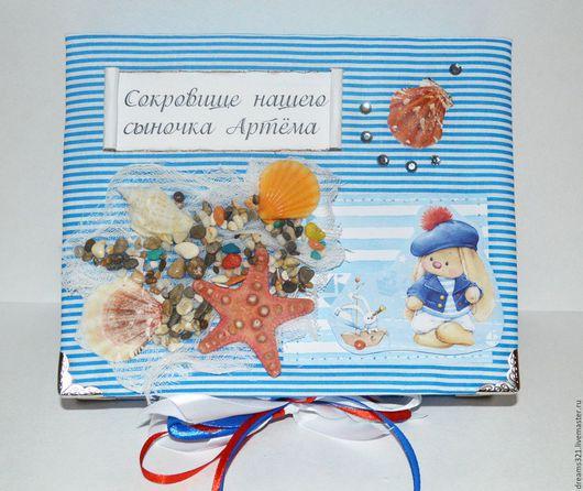 Подарки для новорожденных, ручной работы. Ярмарка Мастеров - ручная работа. Купить Мамины сокровища в морском стиле с бебибуком. Handmade. Синий