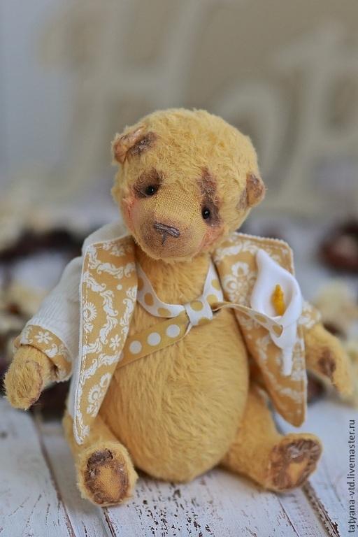 Мишки Тедди ручной работы. Ярмарка Мастеров - ручная работа. Купить Готье. Handmade. Желтый, Авторский дизайн, мишка в подарок