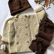 handmade. Livemaster - original item Cardigan pant cap set. Handmade.