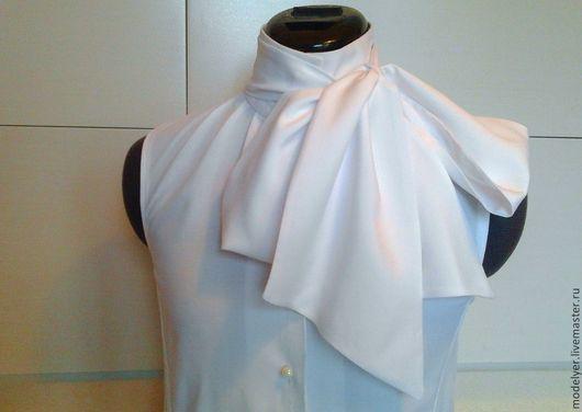 Блузки ручной работы. Ярмарка Мастеров - ручная работа. Купить Блуза с бантом 38,40,42,44 .. белая. Handmade.