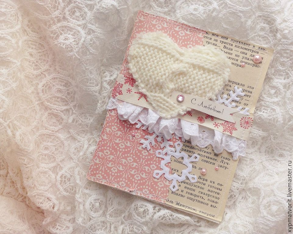 Card with knitted heart, Cards, Novosibirsk,  Фото №1
