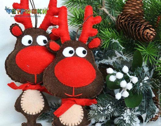 Новый год 2017 ручной работы. Ярмарка Мастеров - ручная работа. Купить Рождественский олень Санты. Handmade. Коричневый, игрушки из фетра
