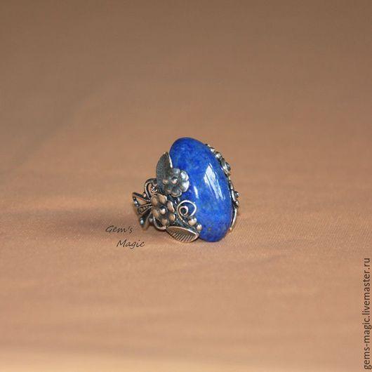 """Кольца ручной работы. Ярмарка Мастеров - ручная работа. Купить Кольцо из лазурита """"Вальс цветов"""". Handmade. Синий, кольцо с цветами"""
