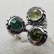 Украшения handmade. Livemaster - original item Silver ring with quartz, chrome oxide and cubic zirconia. Handmade.