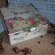 """Для дома и интерьера ручной работы. Ярмарка Мастеров - ручная работа Чайная коробка """"Письма и розы"""". Handmade."""