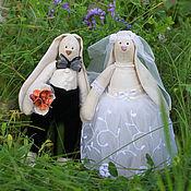 Тильда Зверята ручной работы. Ярмарка Мастеров - ручная работа Свадебные зайки тильда. Handmade.