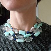 Украшения handmade. Livemaster - original item Three-row necklace made of larimar, chalcedony and lapis lazuli. Handmade.
