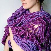 Аксессуары ручной работы. Ярмарка Мастеров - ручная работа Объемный шарф-трансформер снуд лиловый. Handmade.
