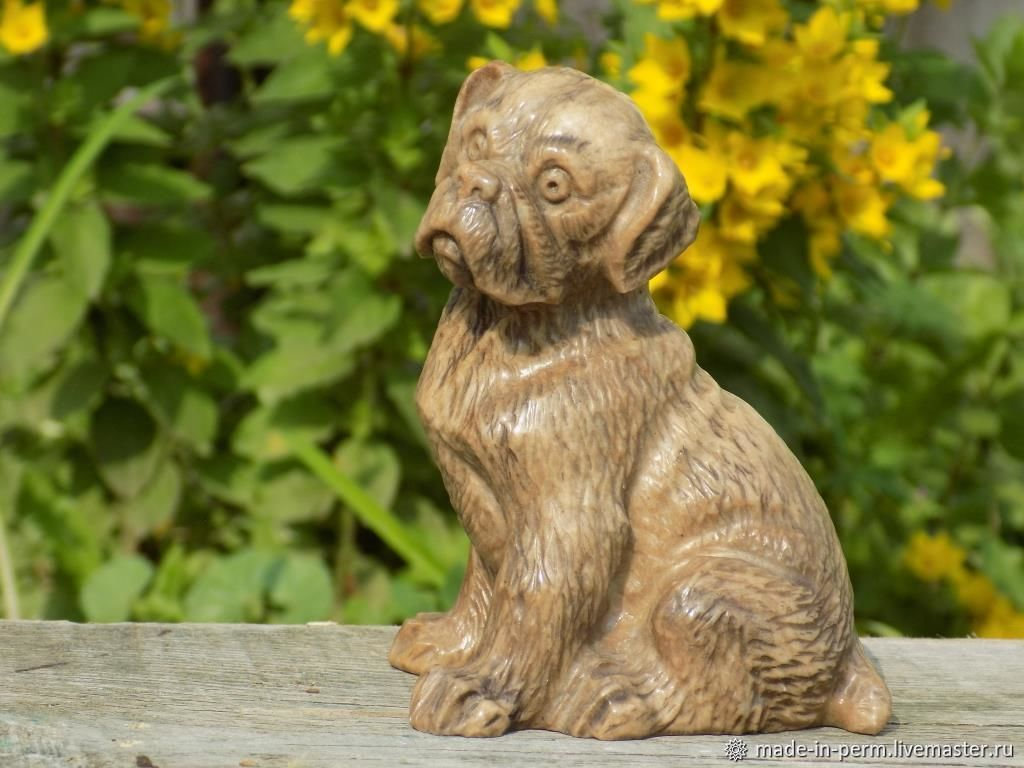 Собака Бульдог - статуэтка из камня Кальцит, Статуэтки, Орда,  Фото №1
