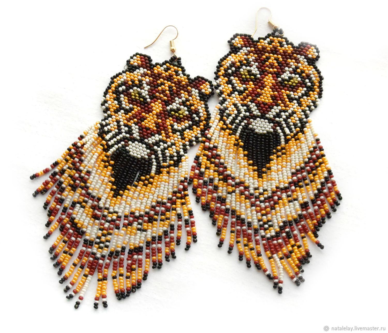 Earrings-brush: Beaded Earrings, Tiger Cubs, Long, Tassel earrings, St. Petersburg,  Фото №1
