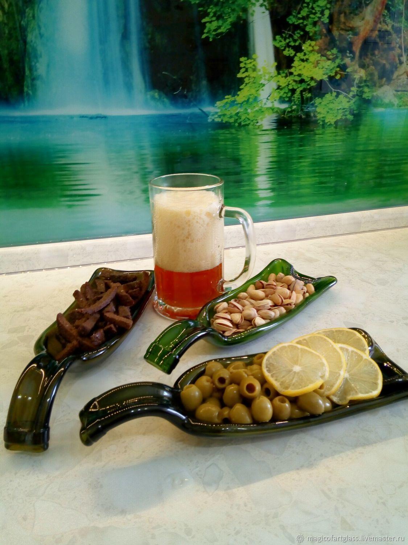 Тарелка-бутылка, блюдо из бутылки, необычная посуда, фьюзинг стекла, Тарелки, Хабаровск, Фото №1