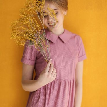 Одежда ручной работы. Ярмарка Мастеров - ручная работа Свободное ярусное платье из розового хлопка в горох с вырезом на спине. Handmade.