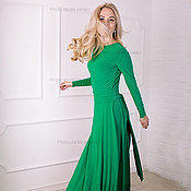 Одежда ручной работы. Ярмарка Мастеров - ручная работа Зеленое платье в пол с вырезом на спине. Handmade.