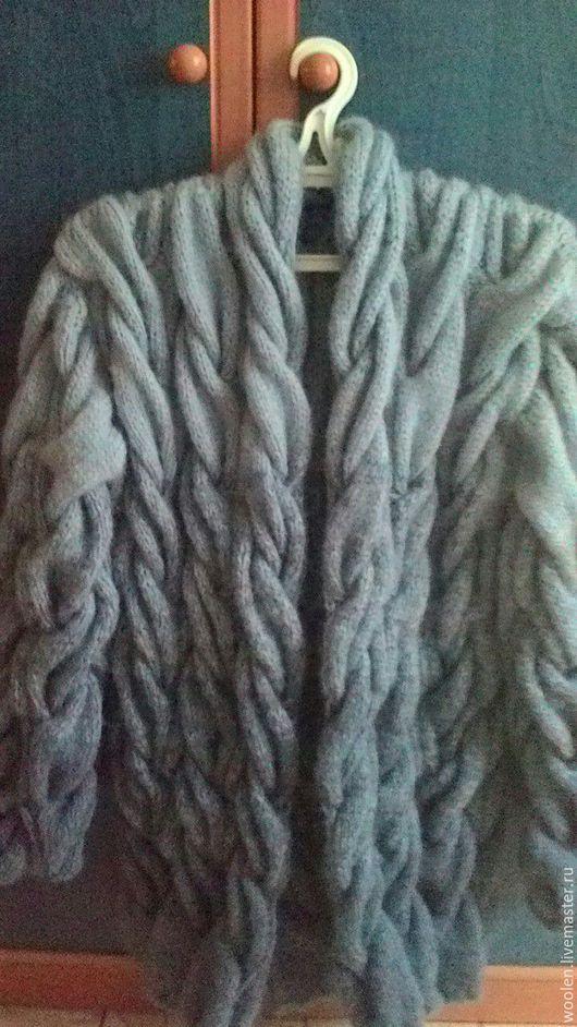 Кофты и свитера ручной работы. Ярмарка Мастеров - ручная работа. Купить Кардиган косами. Handmade. Серый, вязаные кардиганы