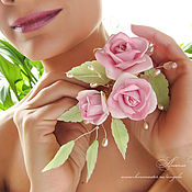 """Свадебный салон ручной работы. Ярмарка Мастеров - ручная работа Свадебный цветочный гребень """"Веточка роз"""". Handmade."""