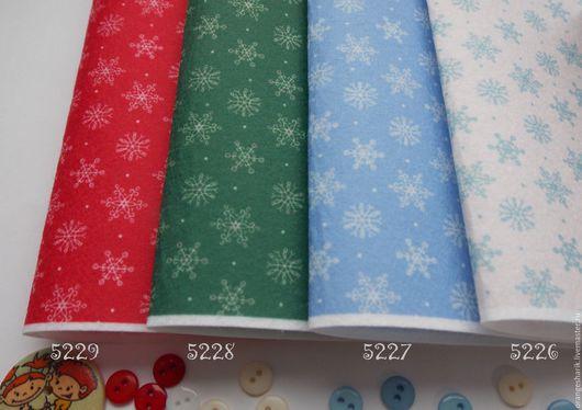 Другие виды рукоделия ручной работы. Ярмарка Мастеров - ручная работа. Купить Фетр корейский с принтом снежинки. Handmade. Белый