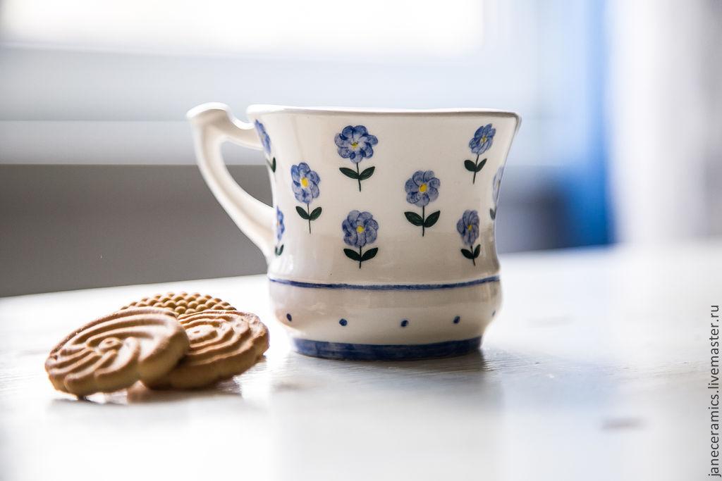 Незабудки. Чашка ручной работы, керамика, Кружки, Жуковский, Фото №1