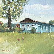 Картины и панно handmade. Livemaster - original item Painting In the village (rustic landscape, summer, summer, blue green). Handmade.