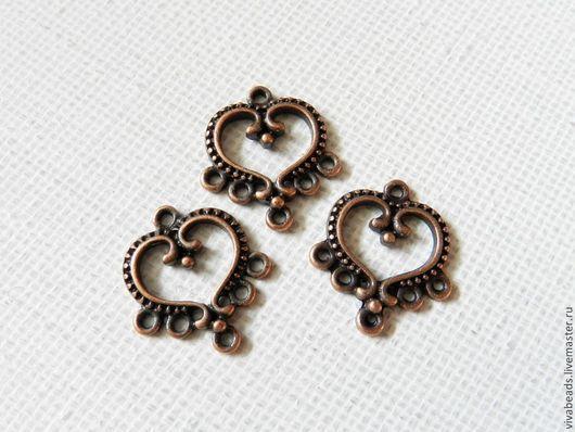 Коннектор Сердце, размер 19,5*21,5 мм цвет МЕДЬ, отверстие ок. 1,5 мм, материал - сплав металлов, не содержит свинца, кадмия и никеля (арт. 1234)