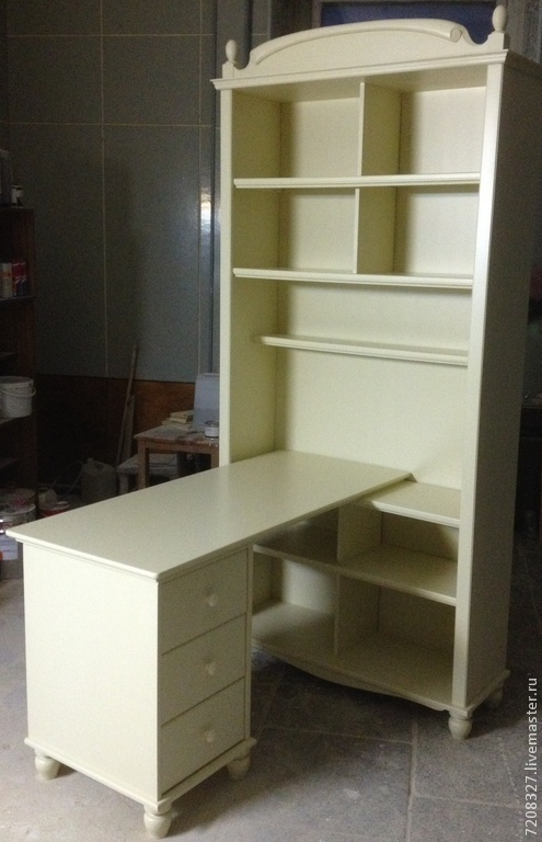 Wardrobe-Desk `Papyrus` is a convenient, functional and sleek piece of furniture including a Desk with a comfortable and spacious counter top, a nightstand with three drawers and an open Cabinet with