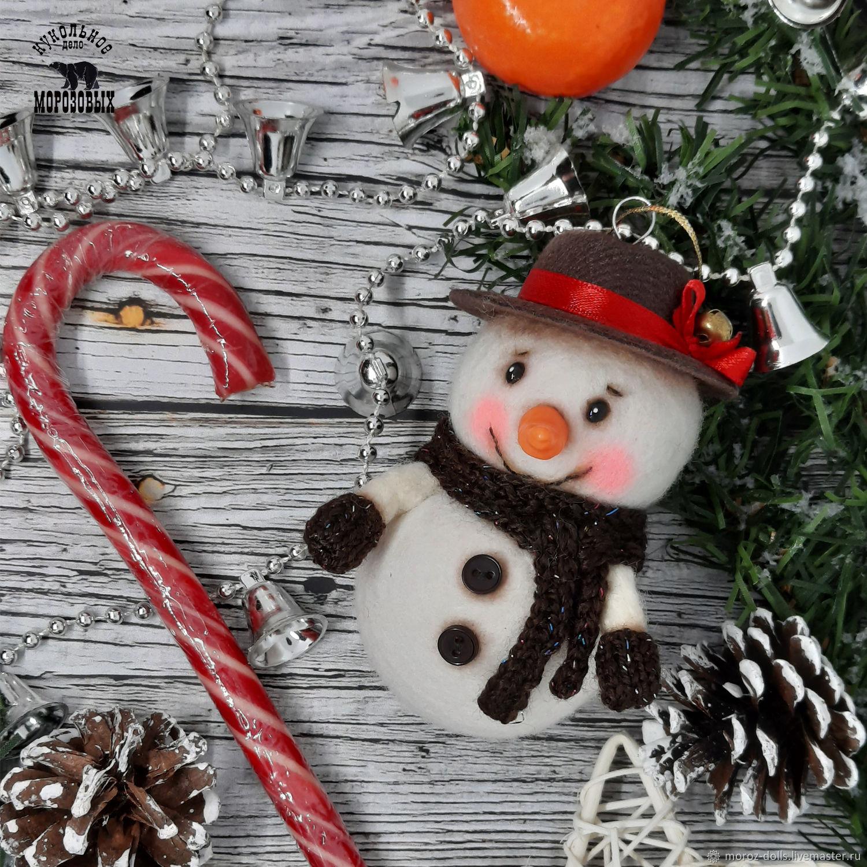 «Снеговик в шляпе», игрушка из шерсти, Интерьерная кукла, Лосино-Петровский,  Фото №1