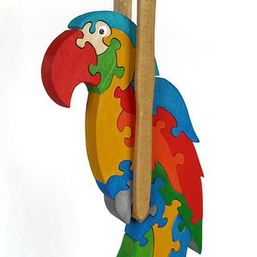 Куклы и игрушки ручной работы. Ярмарка Мастеров - ручная работа Попугай деревянный паззл-подвеска. Handmade.