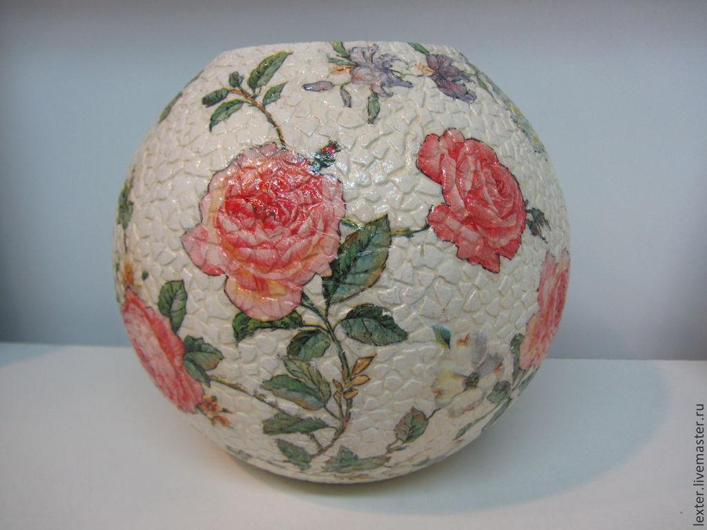 Вазы ручной работы. Стеклянная ваза  Розовый сад
