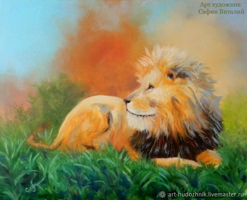 Анималистика животные картина маслом Рыжий лев портрет кошки, Картины, Санкт-Петербург,  Фото №1