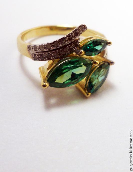 Кольца ручной работы. Ярмарка Мастеров - ручная работа. Купить Золотое бриллиантовое кольцо Хризолиты 585 пробы. Handmade. креатив