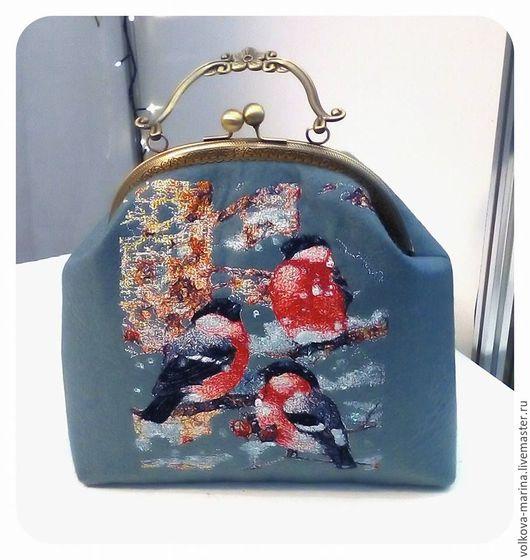 Женские сумки ручной работы. Ярмарка Мастеров - ручная работа. Купить сумка из фетра с вышивкой. Handmade. Серый, фетр