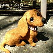 Подарки к праздникам ручной работы. Ярмарка Мастеров - ручная работа Такса, валяная игрушка. Handmade.