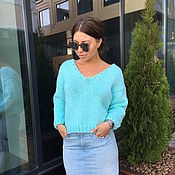 Одежда handmade. Livemaster - original item Turquoise short sweater for women. Handmade.