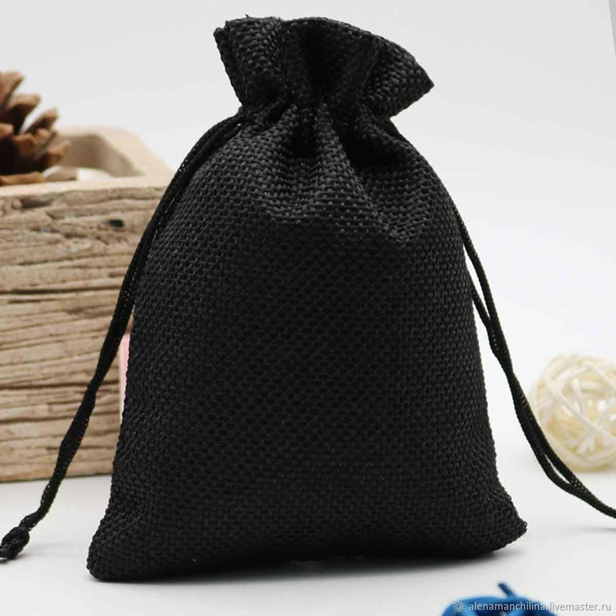 Мешочек 13 х 18 см. джутовый цвет Чёрный – купить на Ярмарке Мастеров – MK6Z0RU | Мешочки, Вольск
