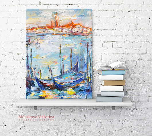 Картина маслом   `Венеция в лазурных тонах`