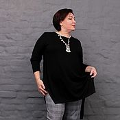 Одежда handmade. Livemaster - original item Tunic with long black sleeves with slits and extended back. Art.. Handmade.